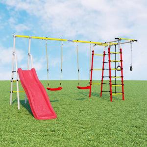 detskij sportivnyj kompleks dlja dachi romana bogatyr pljus 2 kacheli plastikovye