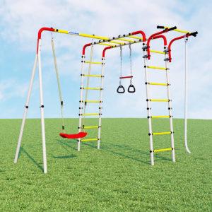 detskij sportivnyj kompleks dlja dachi romana veselaja luzhajka 2 kacheli plastikovye