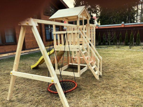 Детская площадка Савушка Мастер 3 + качели-гнездо фото