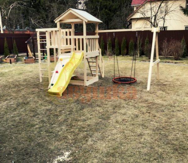 Детская площадка Савушка Мастер 3 + качели-гнездо фото1