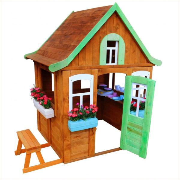 Игровой домик Цветочный c кухней и цветочницами Можга Красная Звезда