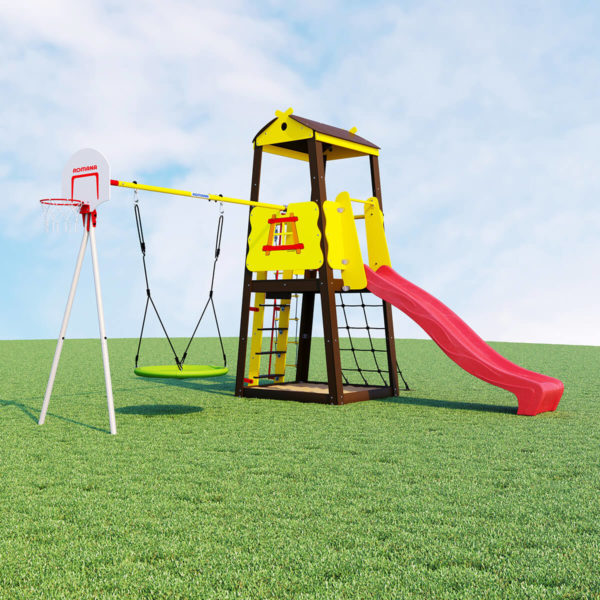 Детский спортивный комплекс для дачи ROMANA Избушка (качели гнездо)
