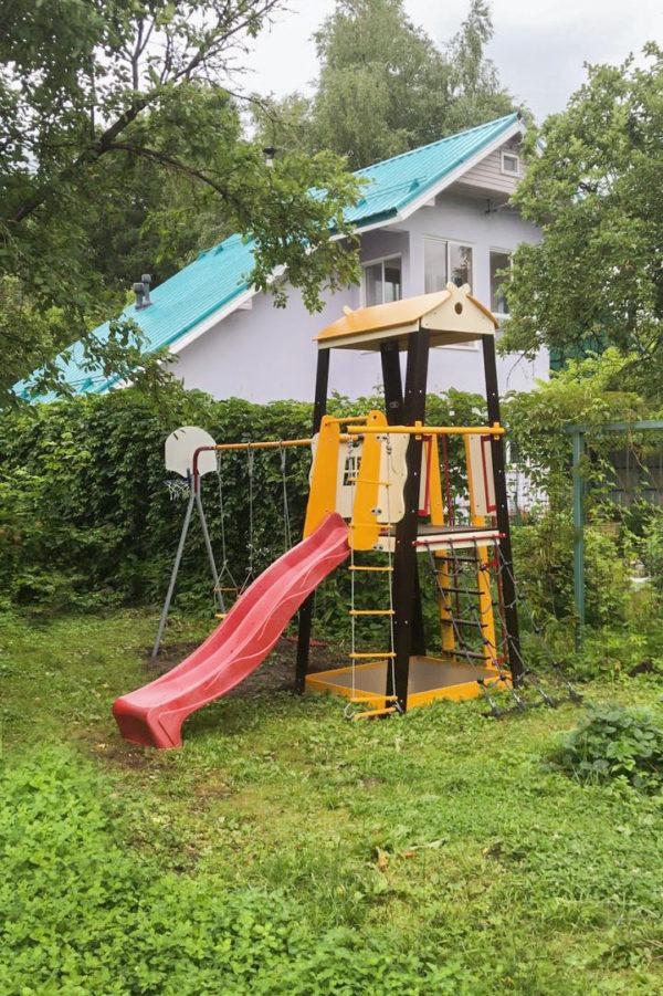 Детский спортивный комплекс для дачи ROMANA Избушка (качели гнездо)_4