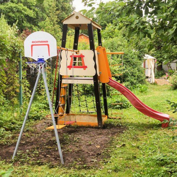 Детский спортивный комплекс для дачи ROMANA Избушка (качели гнездо)_5