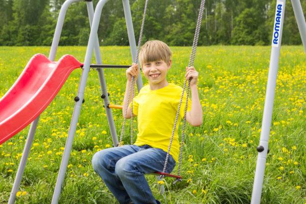 Детский спортивный комплекс для дачи ROMANA Лето (качели гнездо)_6