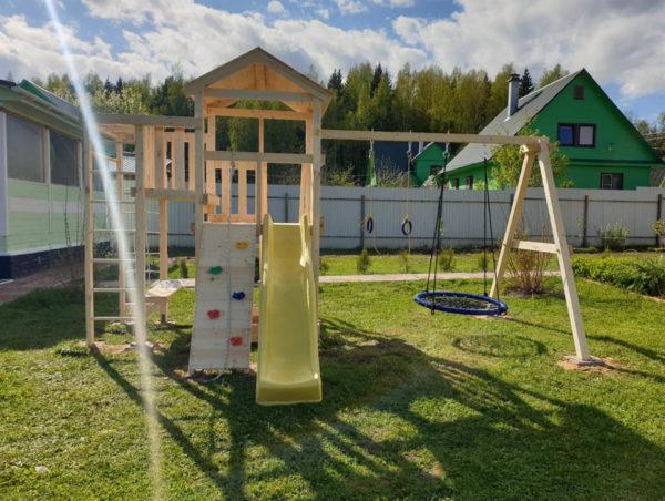 Детская площадка Савушка Мастер 3 + качели-гнездо 0.8м + кольца
