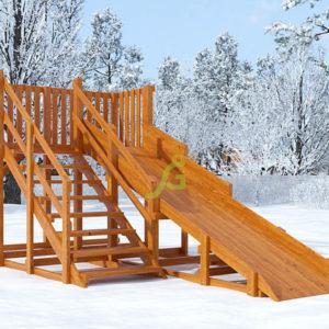 деревянная зимняя горка snow fox скат 4 м