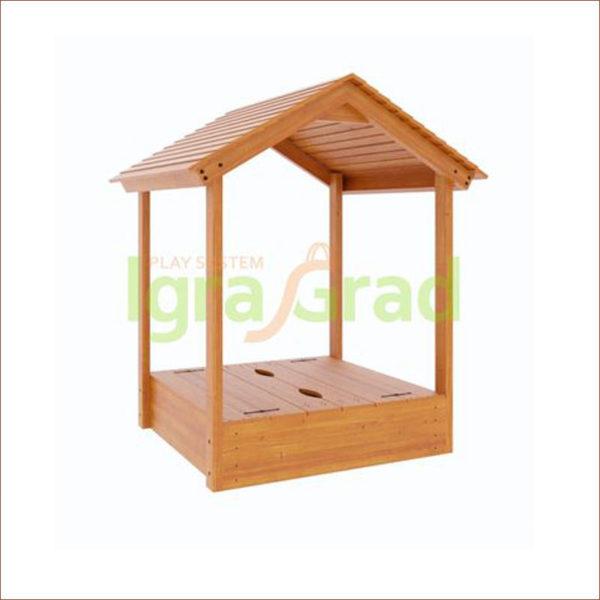 Детская деревянная песочница с крышей-1