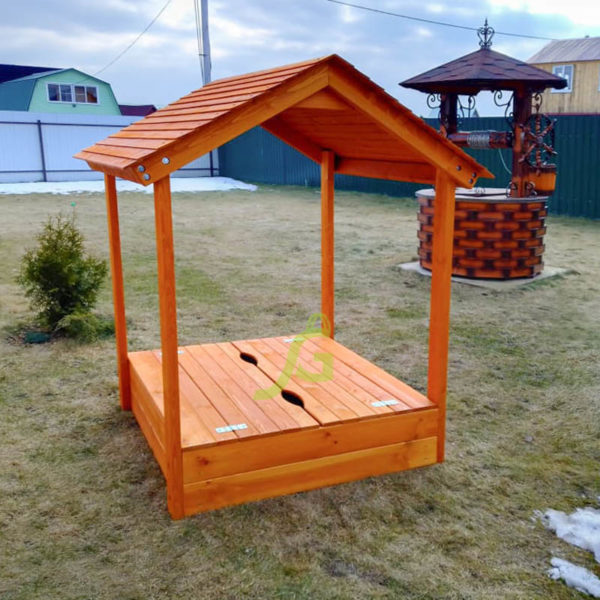 Детская деревянная песочница с крышей3