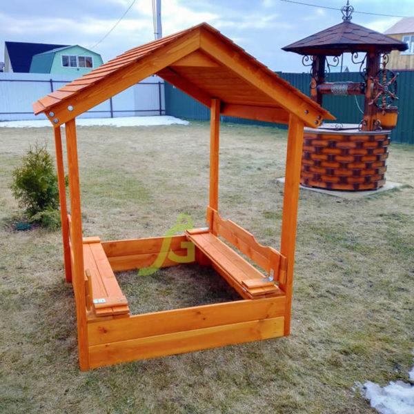 Детская деревянная песочница с крышей4