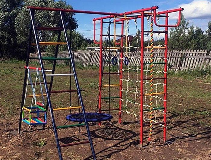 Детская площадка Вертикаль-А+П с сеткой + качели-гнездо
