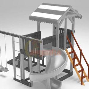 Лестница деревянная с деревянными ступенями и поручнями (замена стандартной) 1000
