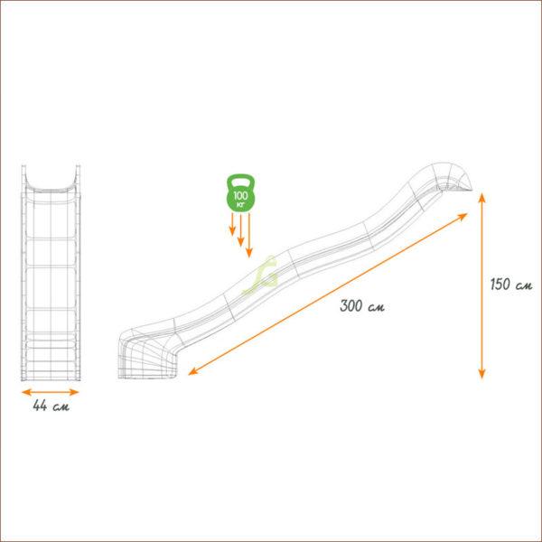 Скат для горки Hapro L 3 м схема