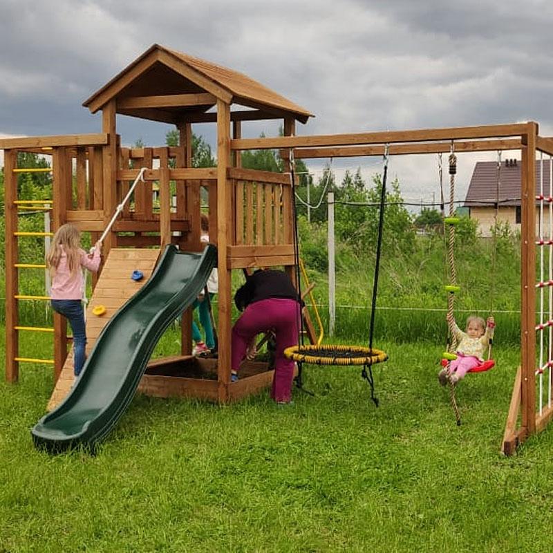 Детская игровая площадка для дачи Лео макси с гнездом окрашенная