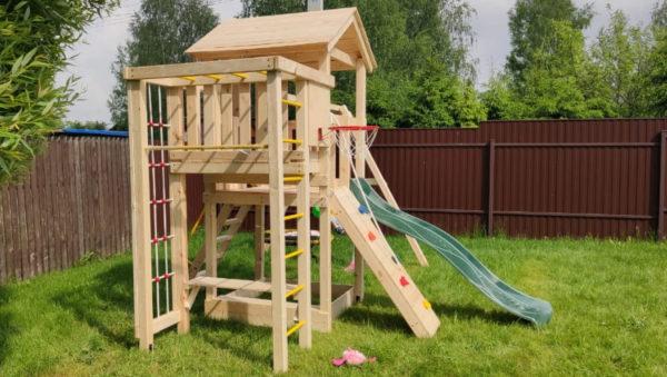 Детская площадка Лео качели-гнездо 0.8м + баскет (2)