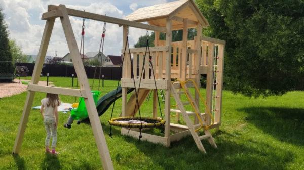 Детская площадка Лео качели-гнездо 0.8м + баскет (4)