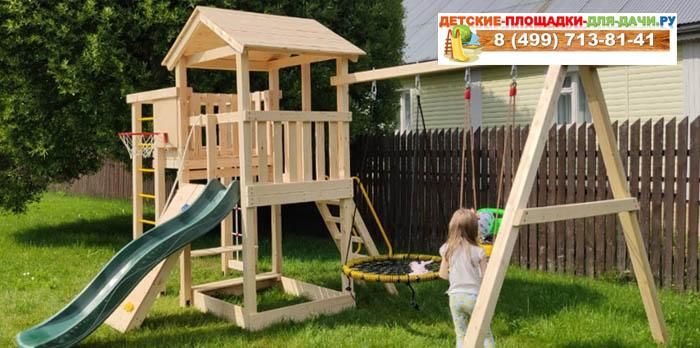 Детская площадка Лео качели-гнездо баскет сборка