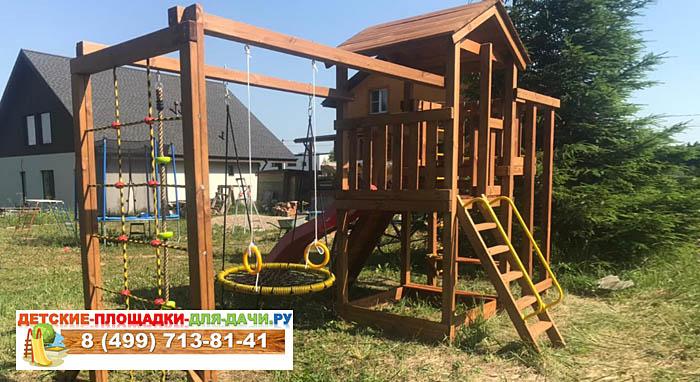 Детская площадка Лео Макси окрашенная с качелями-гнездо сборка