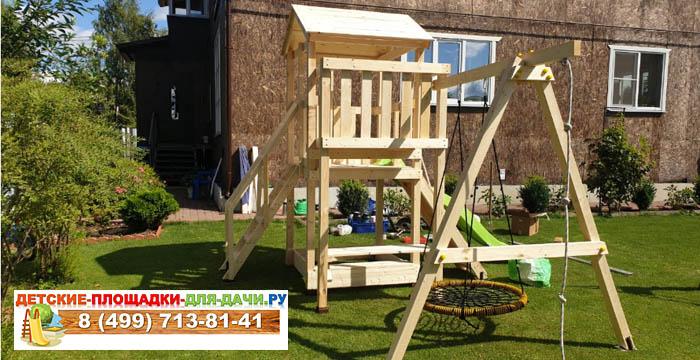Детская площадка Савушка Мастер 1 + качели-гнездо сборка