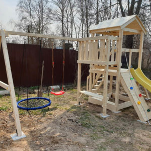 Детская площадка Савушка Мастер 2 + качели-гнездо + качели-лодочка