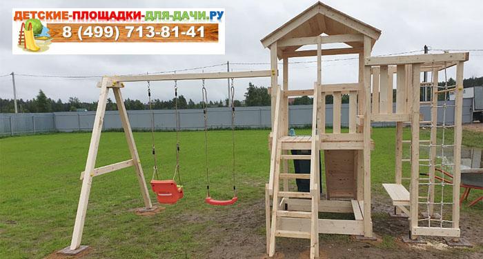 Детская площадка Савушка Мастер 3 с деревянной крышей