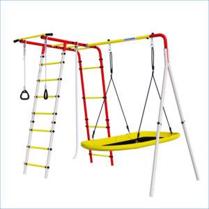 Детский спортивный комплекс для дачи ROMANA Лесная поляна - 3 (качели гнездо-лодка)-сайт