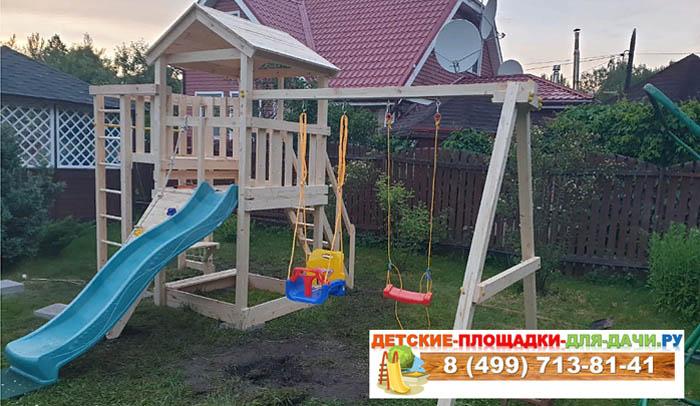 Детская площадка Савушка Мастер 3 с деревянной крышей-1