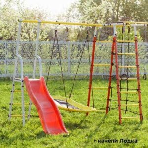 Детский спортивный комплекс для дачи ROMANA Богатырь качели-гнездо лодка